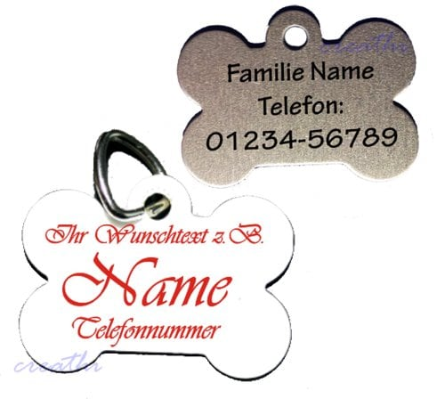 anh nger knochen f rs halsband personalisiert zweiseitig bedruckt m z b name telefonnummer. Black Bedroom Furniture Sets. Home Design Ideas