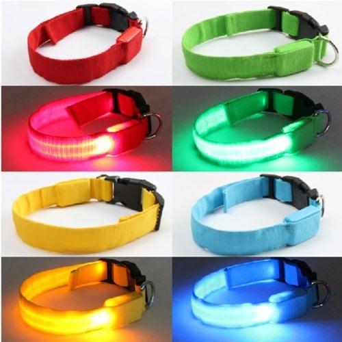 FamilyMall(TM) Hunde Katze LED Halsbänder Hundehalsband Leuchthalsband Blinklicht Leucht gruen