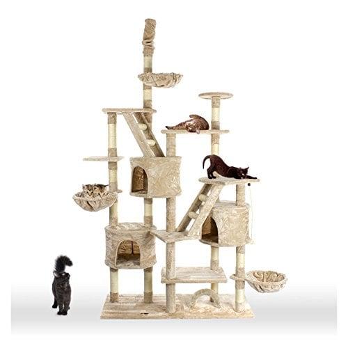 Happypet CAT013-3 Kratzbaum deckenhoch höhenverstellbar 2,30 bis 2,60 m Beige