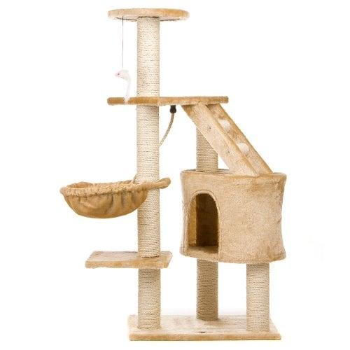 Happypet® Kratzbaum für Katzen 120 cm hoch mit Extra dicken Säulen komplett mit Sisal ca. 9,0 cm Höhle Liegemulde Spielseil Spielmaus Farbe auswählbar
