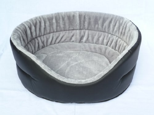 Hundebett Katzenbett Körbchen für Hunde Katzen Schlafplatz Plüsch / Kunstleder 52 x 46 cm