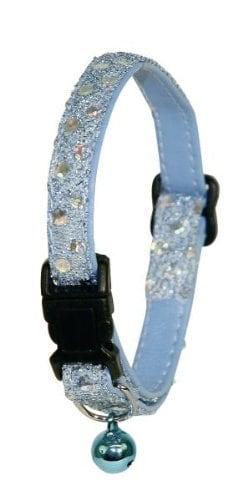 Katzenhalsband mit Safetyver- schluss, Pailetten + Glöckchen
