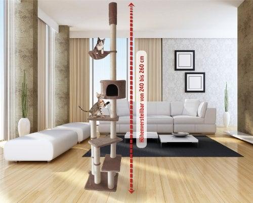 Kratzbaum Deckenhoch mit 3 Ebenen 240 - 260cm braun