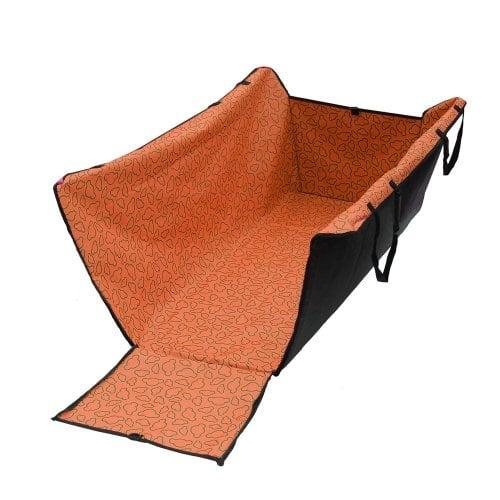 Lalawow Wasserdichte Autositz Hängematte Liegemulde Liegematte für Haustier Hunde Katzen Waschbar Doppelschichtig für Reise Sicheres Fahren (Orange)