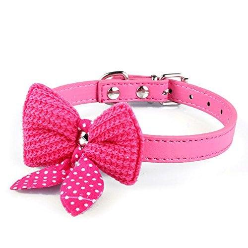 Ukamshop 1 PC einstellbar stricken bowknot PU-Leder Katze Hundewelpen Haustier Halsbänder Halskette hot pink